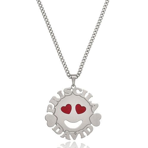 Colar Mandala Personalizado em formato de Smile com Corações e Nomes