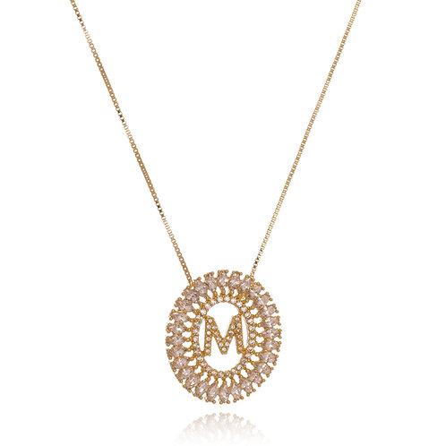 Colar Folheado Personalizado de Mandala Cravejada em Zircônia com Inicial