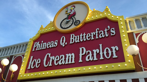 Phineas Q Butterfat's Ice Cream Parlor Storefront Signage
