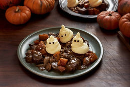 Halloween Dinner. Stew with Ghost Potato
