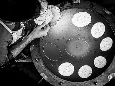 handpan templating black and white photo frm above