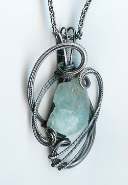 Pendant in 925 Silver and Fluorite.
