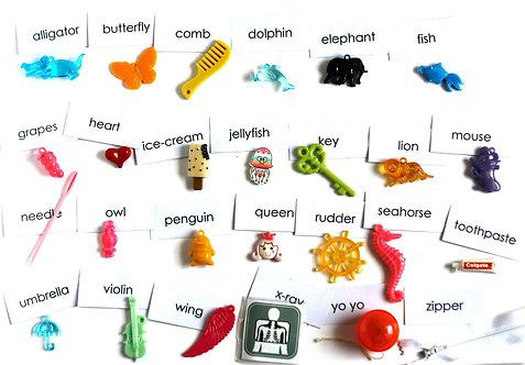 Big ABC trinkets, 1-3cm, 26 objects Alphabet miniatures educational games or crafts, by TomToy