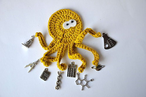 Scientist The busy Octopus crochet applique handmade by TomToy