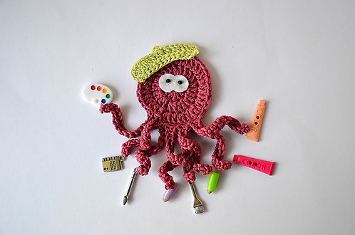 Artist The busy Octopus crochet applique handmade by TomToy