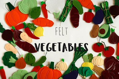 Felt veggies pieces, Play food vegetables, 2.5-7cm, 1 piece
