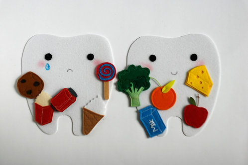 Little Happy tooth - Sad tooth, 15x17cm tooth, Set of 2 teeth+10 food pcs