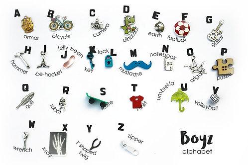 Boys Boyz Theme ABC trinkets, 1-3cm, 26 objects Alphabet miniatures educational games or crafts, by TomToy
