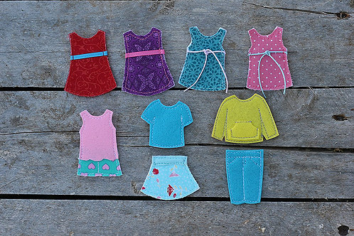 "Individual Dressing outfits for Felt ""paper"" doll, 1 outfit of your choice"