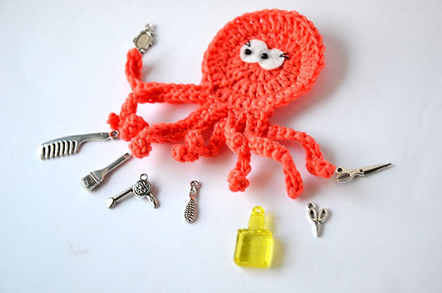 Hairdresser The busy Octopus crochet applique, 10cm