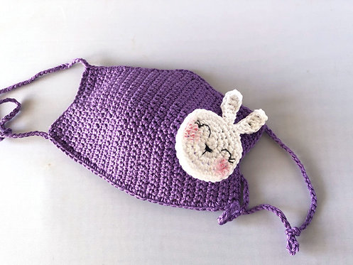 Child crochet Face mask, Purple with white bunny applique Handmade by TomToy