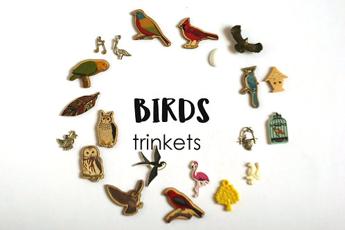 ANIMALS Theme I Spy trinkets: Birds, 1-3cm, 15 trinkets