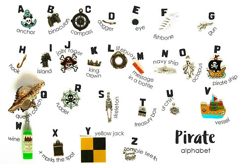 Pirate Theme ABC trinkets, 1-3cm, 26 objects Alphabet miniatures educational games or crafts, by TomToy
