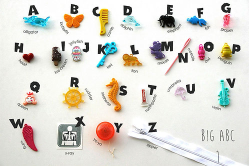 BIG ABC objects for Alphabet Box, 2.5-8cm, 26 alphabet trinkets