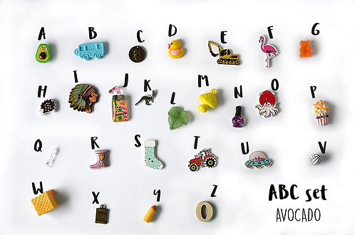 Avocado ABC set, Alphabet I spy trinkets by TomToy