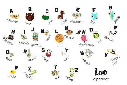 Zoo Animals Theme ABC trinkets, 1-3cm, 26 objects Alphabet miniatures educational games or crafts, by TomToy