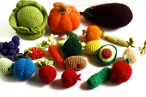 Play food set, Crochet vegetables and fruits, 3-8cm, Set of 20