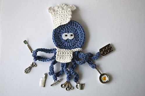 Cheff The busy Octopus crochet applique, 10cm
