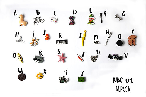 Alpaca ABC trinkets, 1-3cm, 26 objects Alphabet miniatures educational games or crafts, by TomToy