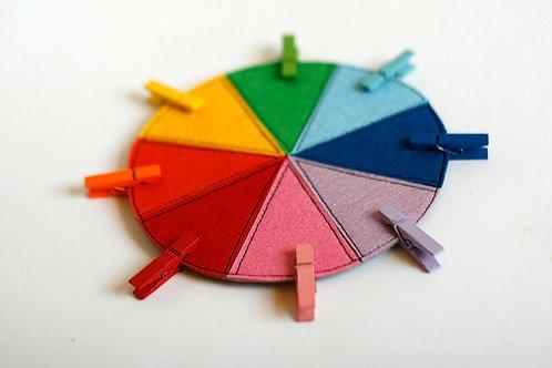 Felt 8-Color wheel with Clothpins, 15/20/30 cm diameter