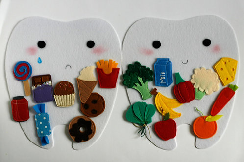 Happy tooth - Sad tooth,  21x24cm tooth, Set of 2 teeth+20 food pcs