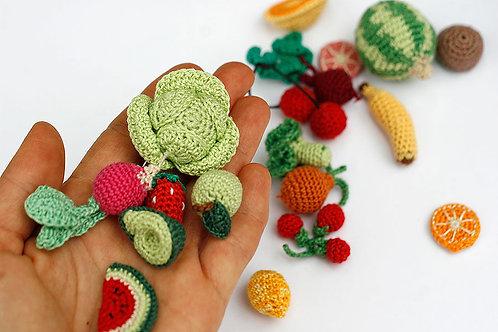 Miniature crochet Fruits and Vegetables, 1.5-4cm,  1 piece - choose your set