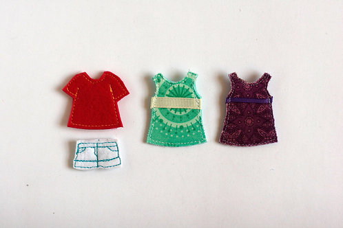 """Summer Dressing set for TomToy Felt """"paper"""" doll, Set of 4 outfits"""