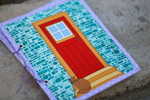 Fabric Dollhouse, Mint bricks Red door, 25x21.5cm, 4 rooms and covers