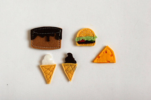 "Food set for Felt ""paper"" doll, Set of 6 pieces"