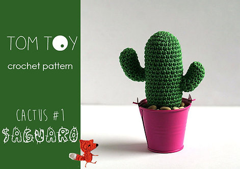 Saguaro Cactus #1 Crochet PATTERN, Potted plants collection