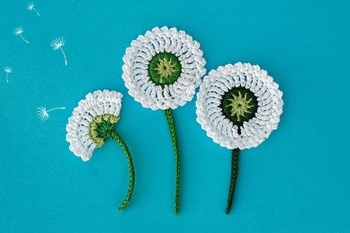 Dandelion Flowers Crochet applique Handmade by TomToy