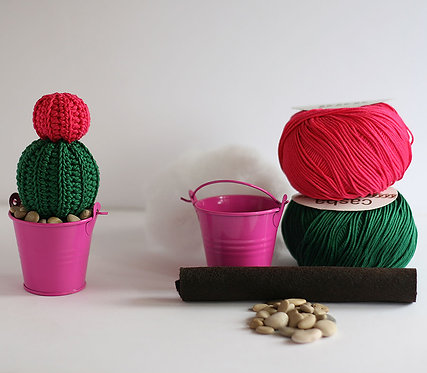 Crochet Kit Cactus #2 Pink Flower, Make your own cacti of many colors