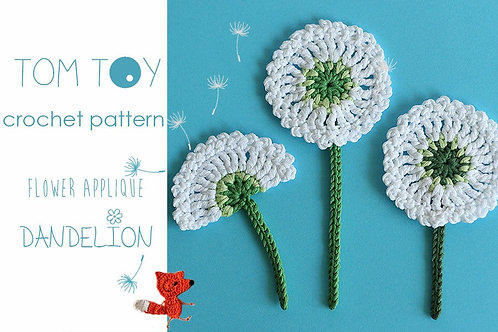 Dandelion flower applique Crochet PATTERN, Bloom collection