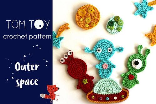 Outer space Applique Crochet PATTERN