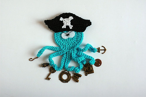 Pirate The busy Octopus crochet applique handmade by TomToy