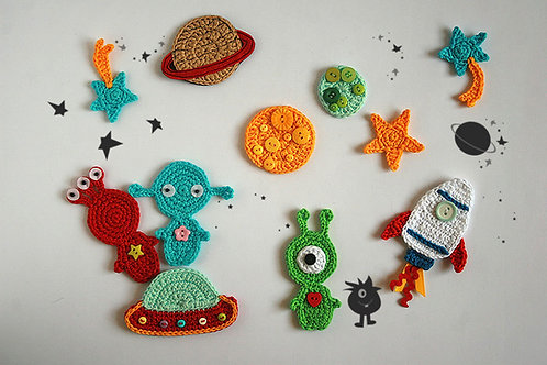 Outer space TomToy Crochet applique Handmade by TomToy