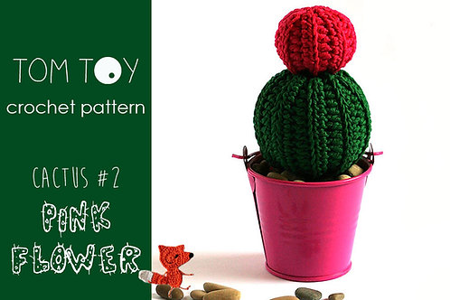 Pink Flower Cactus #2 Crochet PATTERN, Potted plants collection