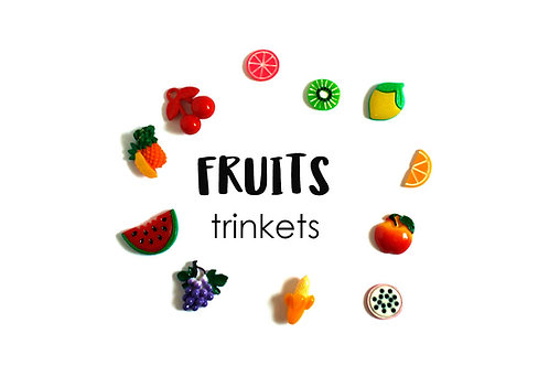 FOOD  Theme I Spy trinkets: Fruits, 1-3cm, Set of 12