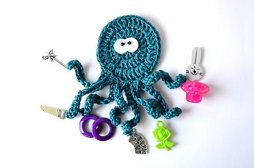 Magician The busy Octopus crochet applique handmade by TomToy
