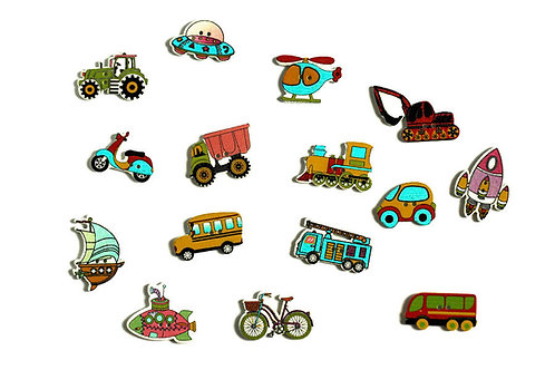 15 Mixed Transportation wooden buttons, 1.5-3.5cm
