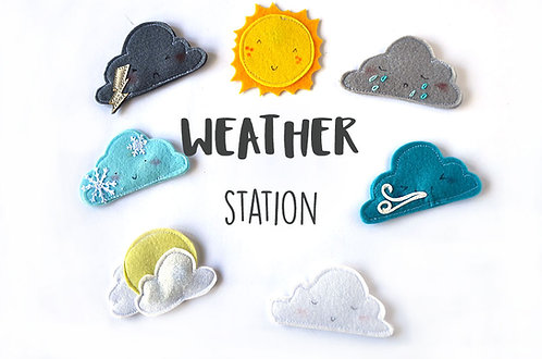 Weather station pieces, Magnetic Felt Educational materials, 4-6x6-8cm, Set of 7