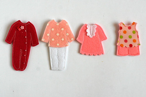 """Pajamas Dressing for TomToy Felt """"paper"""" doll, Set of 4"""