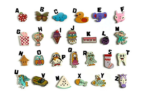 Sew-on Alphabet buttons TomToy