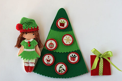 "Christmas Accessories set for Felt ""paper"" doll"
