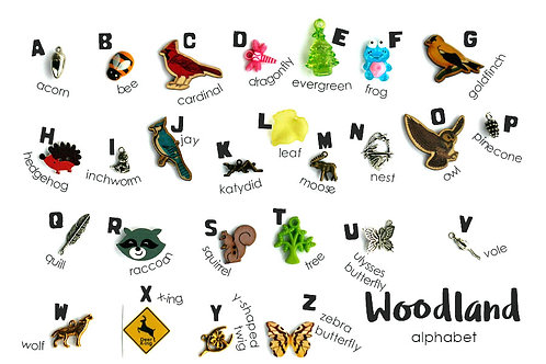 Woodland Theme ABC trinkets, 1-3cm, 26 objects Alphabet miniatures educational games or crafts, by TomToy