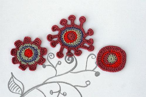 Retro plum flower Crochet appliques Handmade by TomToy