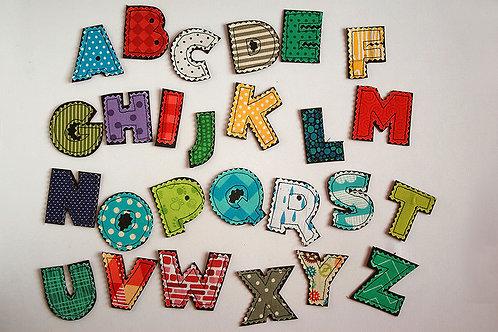 Fabric Alphabet Letters, 4.5cm tall, 1 letter/ABC set