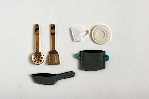 "Cooking Accessories set for Felt ""paper"" doll, , 2-6.5cm, Set of 6 pieces"
