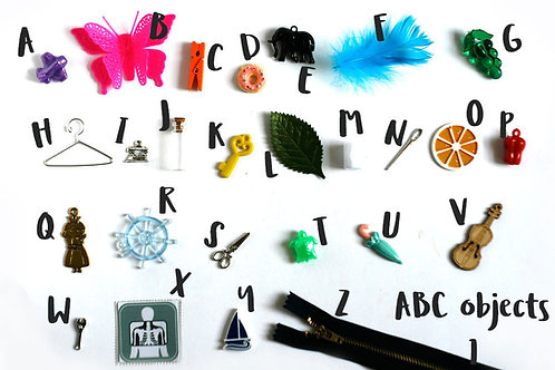 Alphabet objects for Montessori ABC Box, 1-5cm, 1/3/5 objects per letter