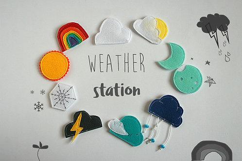 Felt Weather station pieces, 4-6cm, Set of 10
